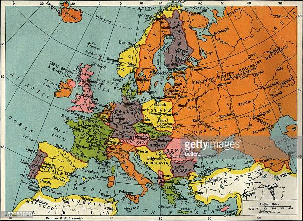 Vintage map of Europe and Asia