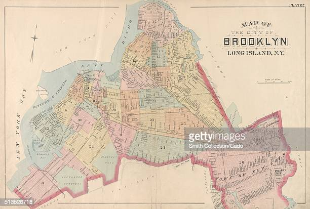 A vintage map of the City of Brooklyn the map depicts the outline of the City of Brooklyn as it appeared at the time of publication it includes 26...