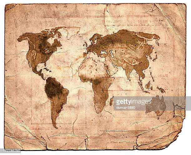 vintage map - vintage world map stock photos and pictures