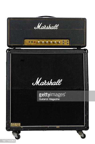 Vintage Marshall JMP electric guitar amplifier and JCM 900 speaker cabinet photographed during a studio shoot for Guitarist Magazine September 20 2012