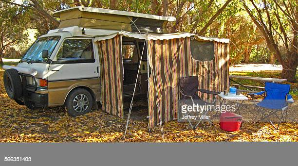Vintage Mazda Campervan with Canvas Awning Table and Chairs