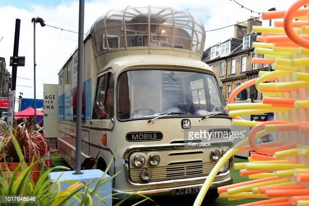 A vintage mobile cinema prepares for a showing during the Edinburgh Festival Fringe on August 16 2018 in Edinburgh Scotland