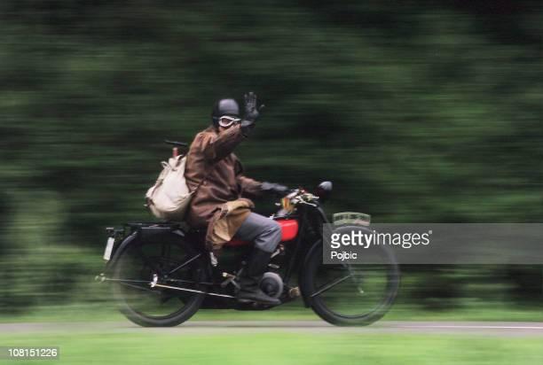 vintage motorcyclist, motion blur - vintage motorcycle stock pictures, royalty-free photos & images