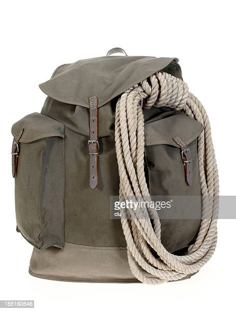 Vintage mountaineering backpack with climbing rope