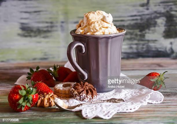 Vintage mug of cappuccino