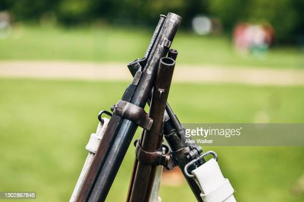 vintage musket rifle muzzles - gun control stock pictures, royalty-free photos & images