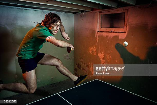 vintage mustache ping pong player - funny ping pong stock pictures, royalty-free photos & images