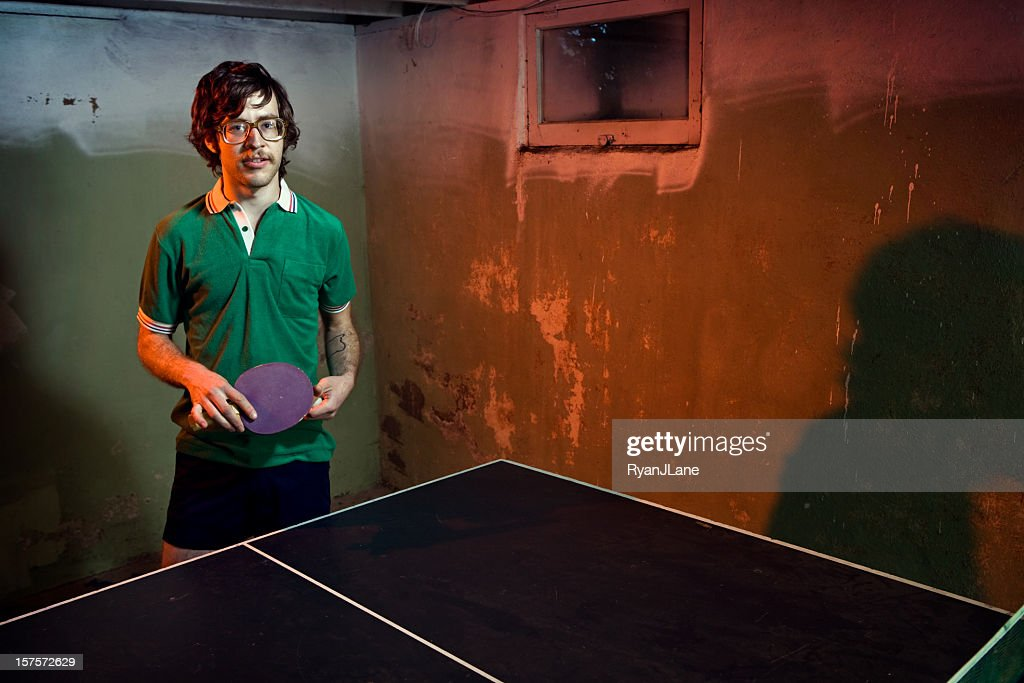 Vintage Mustache Ping Pong Player : Stock Photo