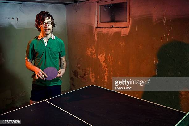 Vintage Mustache Ping Pong Player