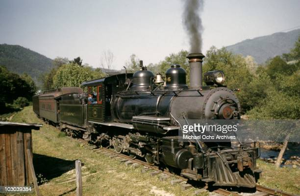 A vintage narrow guage steam engine on the East Tennessee Western North Carolina railway running the 65 miles between Johnson City Tennessee and...