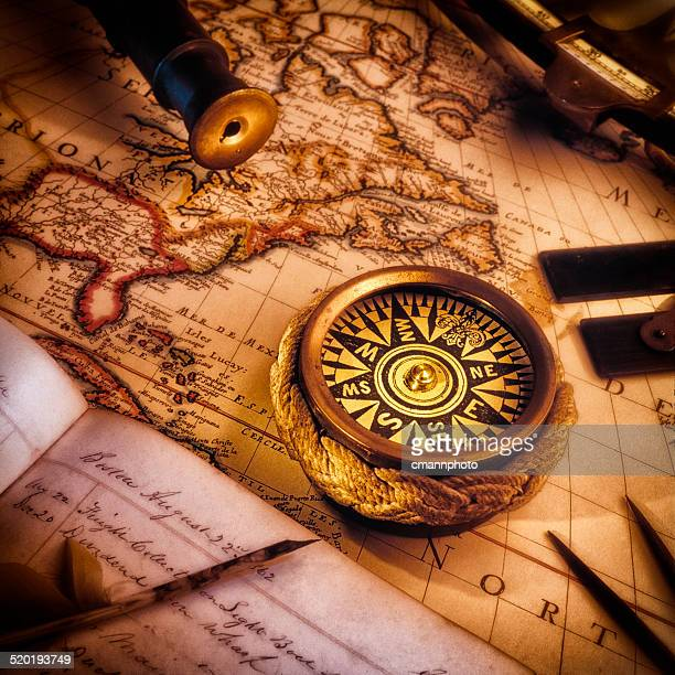 vintage nautical map, compass, ship's log and other navigational tools - cmannphoto stock pictures, royalty-free photos & images