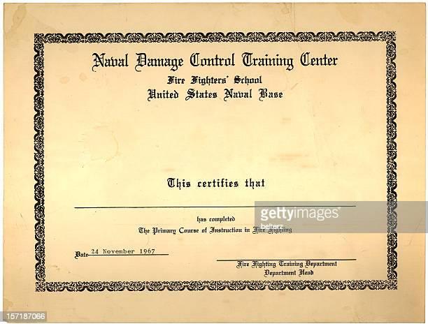vintage naval certificate
