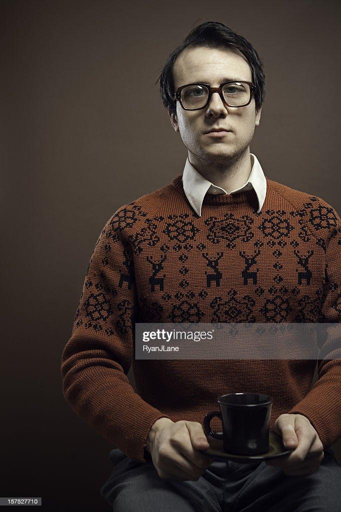 Vintage Nerd With Reindeer Sweater : Stock Photo