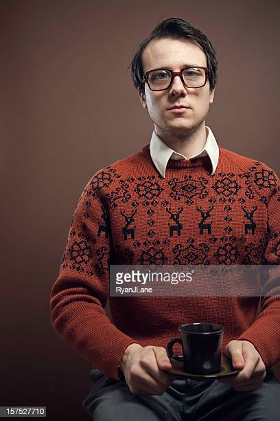 Vintage Nerd With Reindeer Sweater