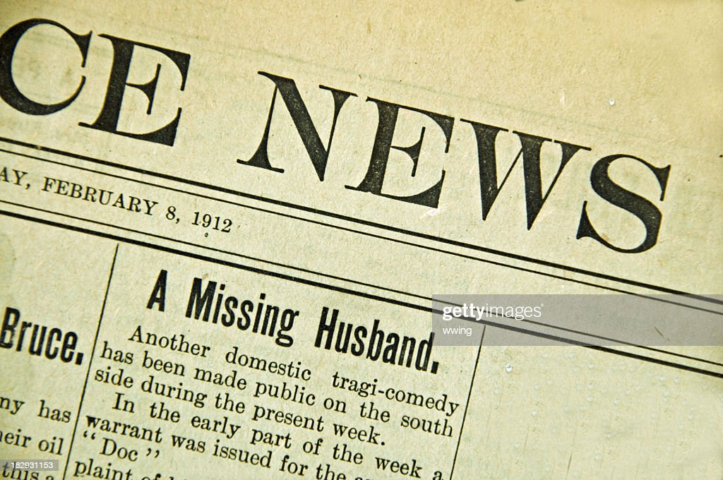 Vintage Newspaper Front Page 1912 Stock Photo