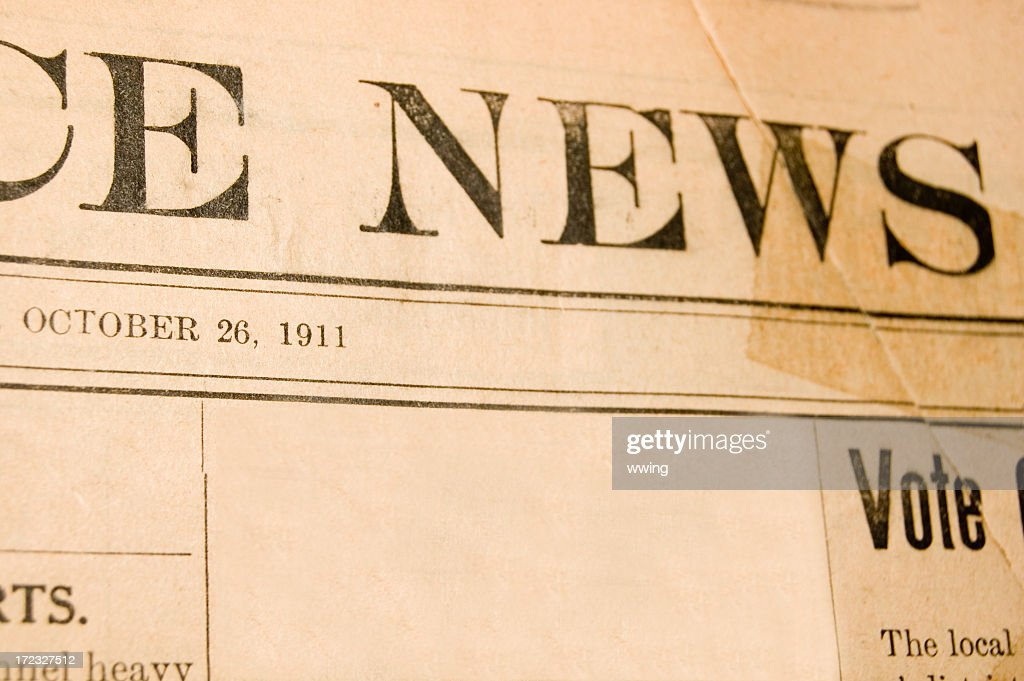 Vintage Newspaper Front Page Stock Photo