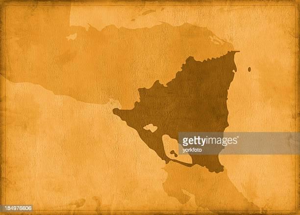 mapa del vintage nicaragua - nicaragua fotografías e imágenes de stock