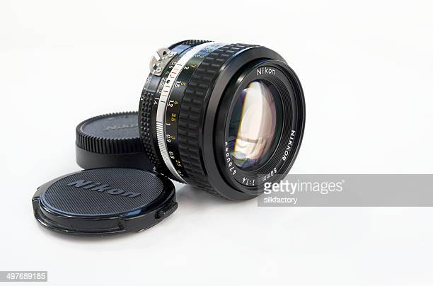 vintage nikon 50mm 1.4 lens for photography camera - nikon stock pictures, royalty-free photos & images