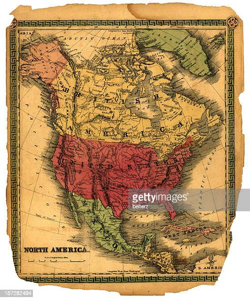 vintage north america map - mexico map stock photos and pictures