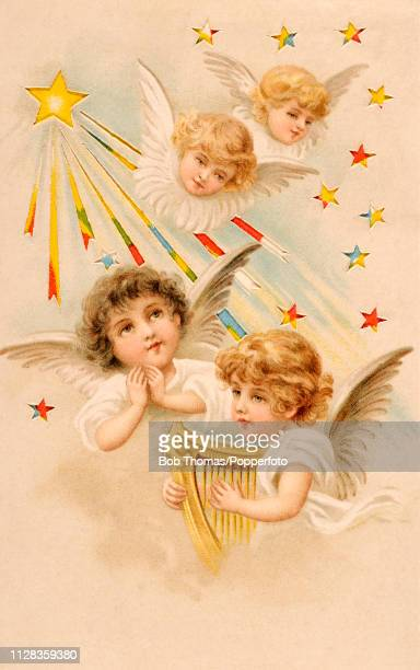A vintage novelty postcard illustration featuring four baby angels one playing the lyre and one praying amidst the stars along with Easter greetings...