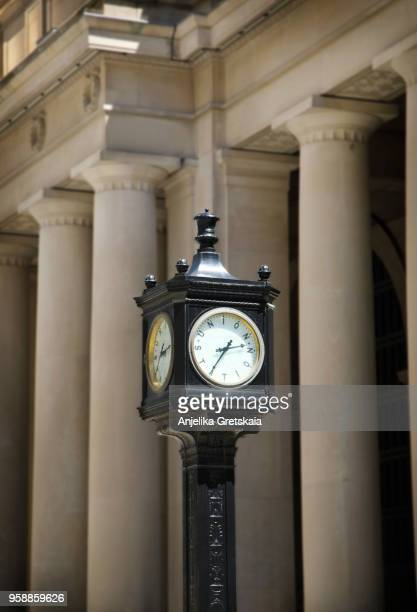 Vintage old black street clock near Union Station, Toronto, Canada