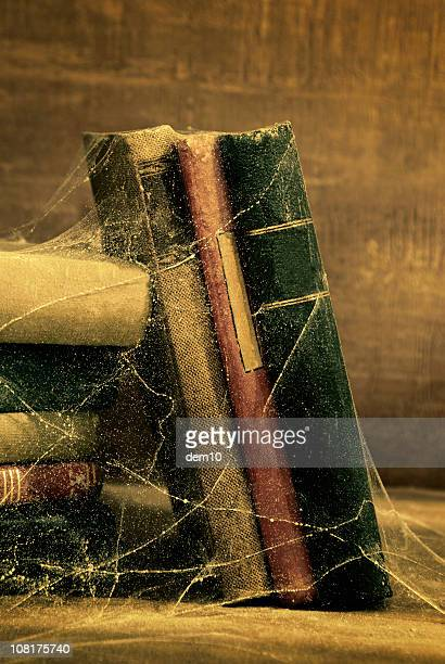 Vintage Old Books Covered in Cobwebs