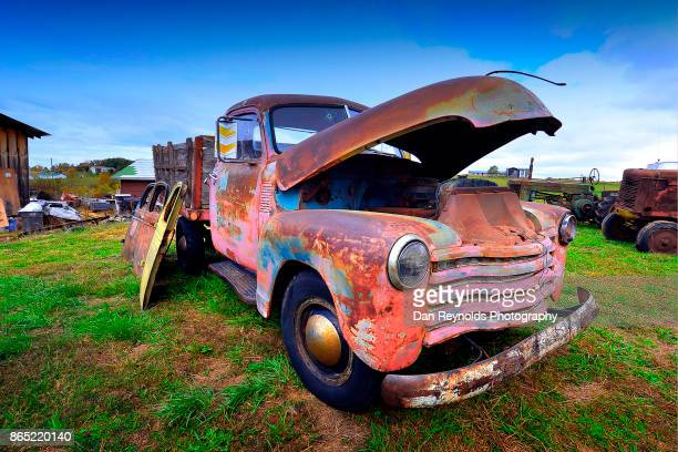 vintage old rusty truck as art - old truck stock pictures, royalty-free photos & images
