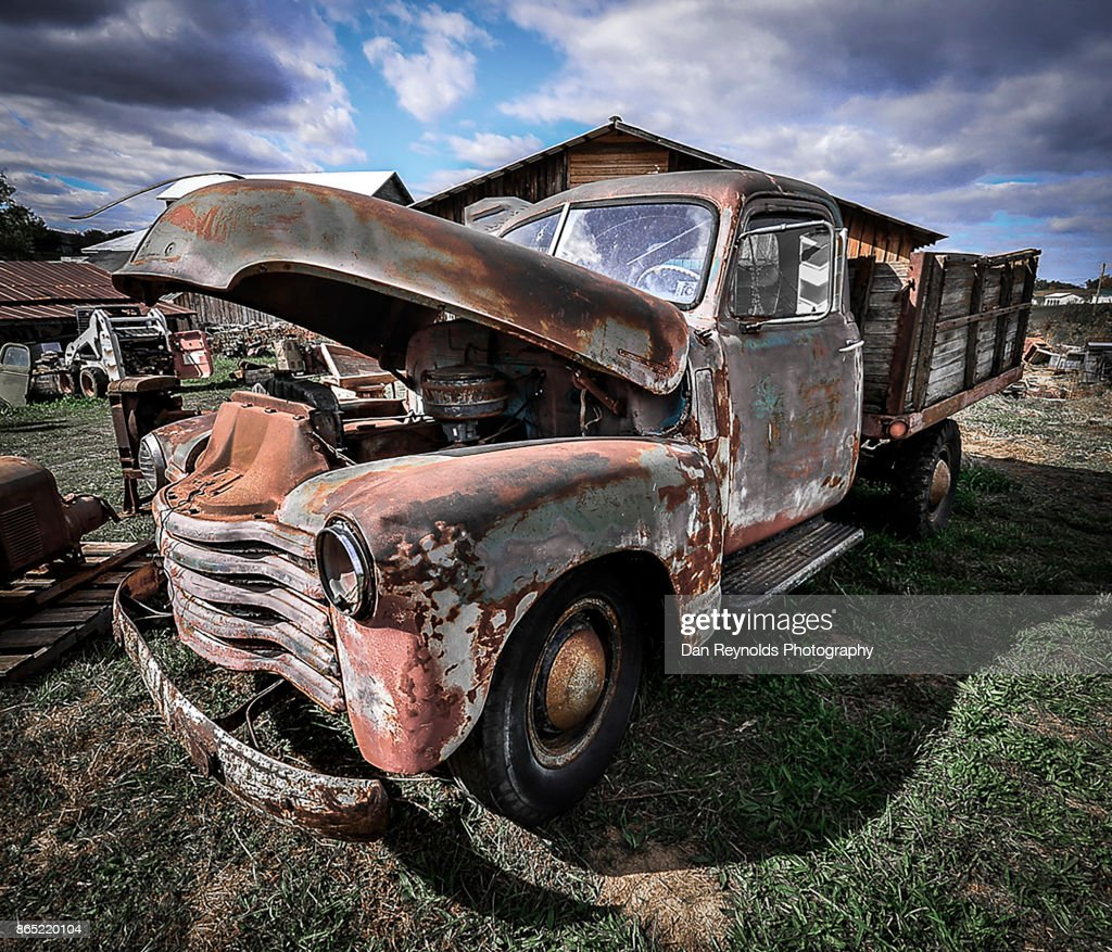 Vintage Old Rusty Truck On Sunny Day Toned Stock Photo | Getty Images