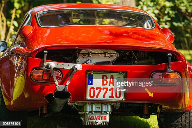 vintage oldtimer car with pimped back engine - pimped car stock photos and pictures
