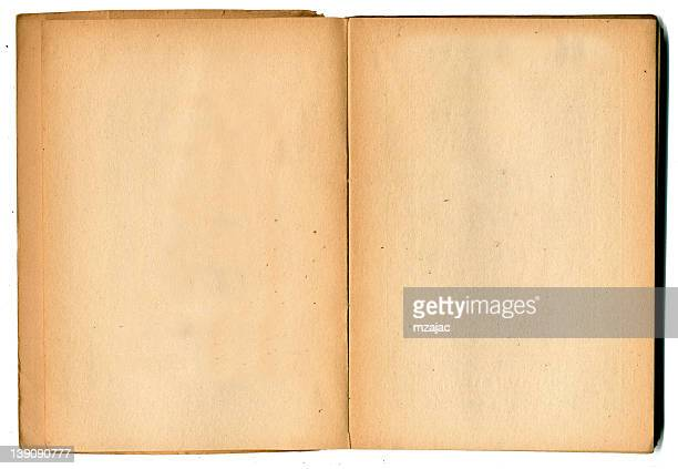 vintage open book blank on white background - font stock photos and pictures