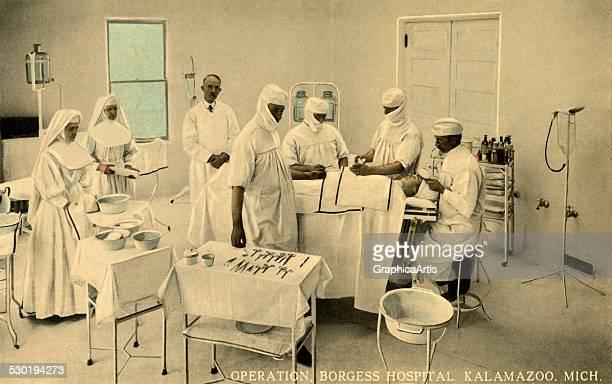 Vintage operating room and medical staff at Borgess Hospital in Kalamazoo Michigan 1910