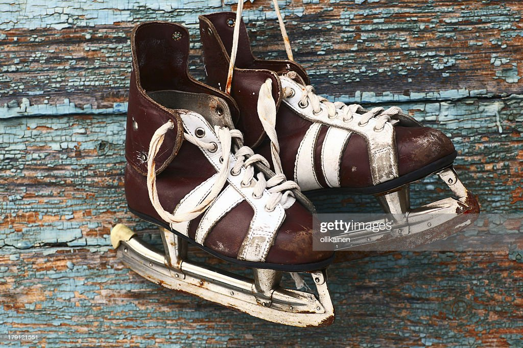 Vintage Pair Of Mens Ice Skates On A Wooden Wall Stock Photo Getty