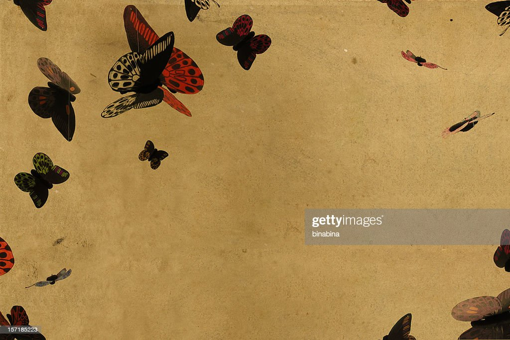 Vintage Paper Butterflies Background Stock Photo | Getty Images