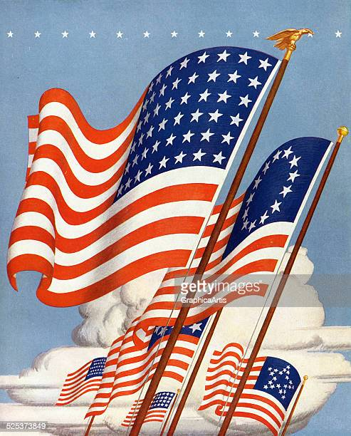 Vintage patriotic illustration of six historical flags of the United States flying against a blue sky screen print 1939