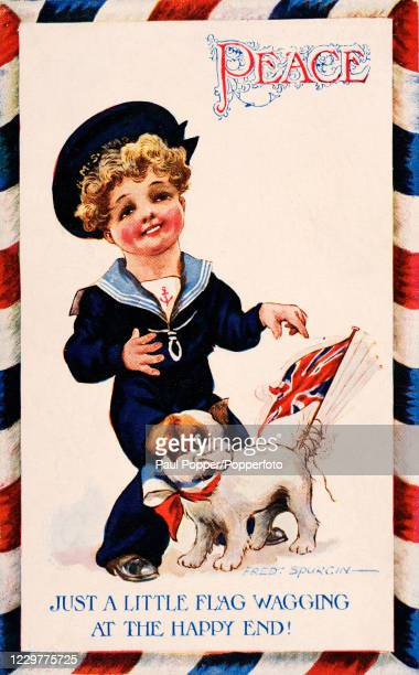 Vintage patriotic postcard illustration, by the Russian-born artist Fred Spurgin, featuring a little boy in a sailor suit and his puppy with a Union...