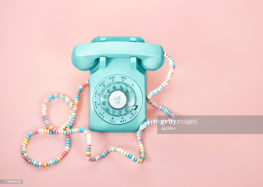 Vintage phone with Candy Cord : Stock Photo