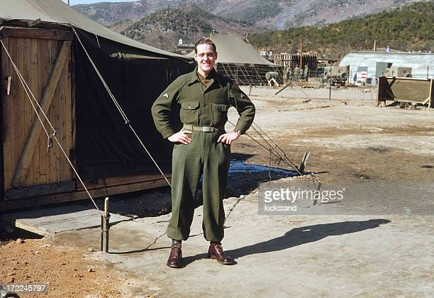 vintage photo: american g.i. - korean_war stock pictures, royalty-free photos & images