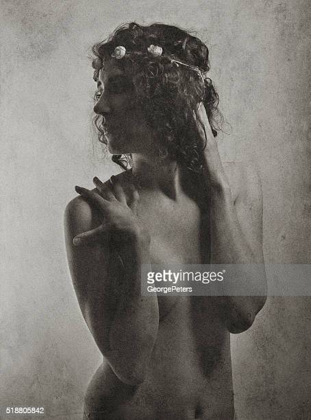 vintage photo of a young victorian woman or woodland fairy - old nudists stock pictures, royalty-free photos & images