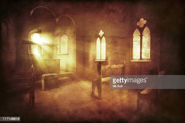 vintage photo of church interior - church stock pictures, royalty-free photos & images