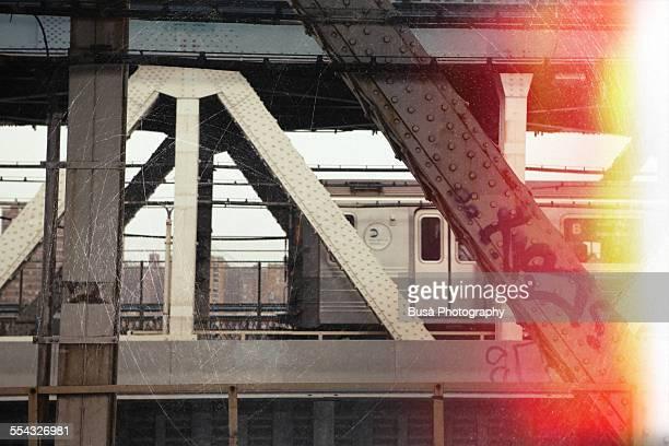vintage photo of subway car, manhattan bridge - train graffiti stock photos and pictures