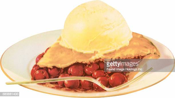 Vintage photograph of a slice of cherry pie a la mode and a fork on a plate 1950s