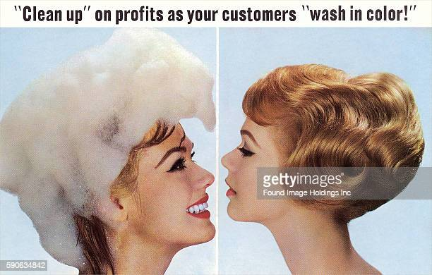 Vintage photograph of a smiling young woman whose head is covered in shampoo bubbles facing a second woman with beautifully coiffed lightbrown hair...