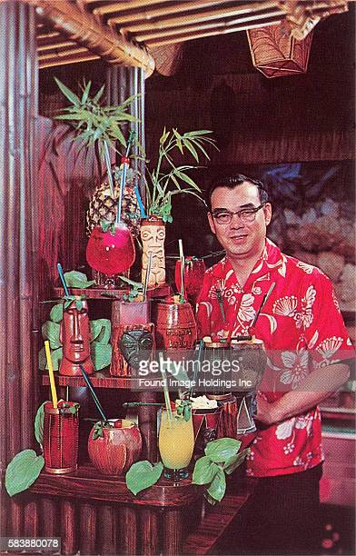 Vintage photograph of a tiki bartender with exotic drinks in the 1960s