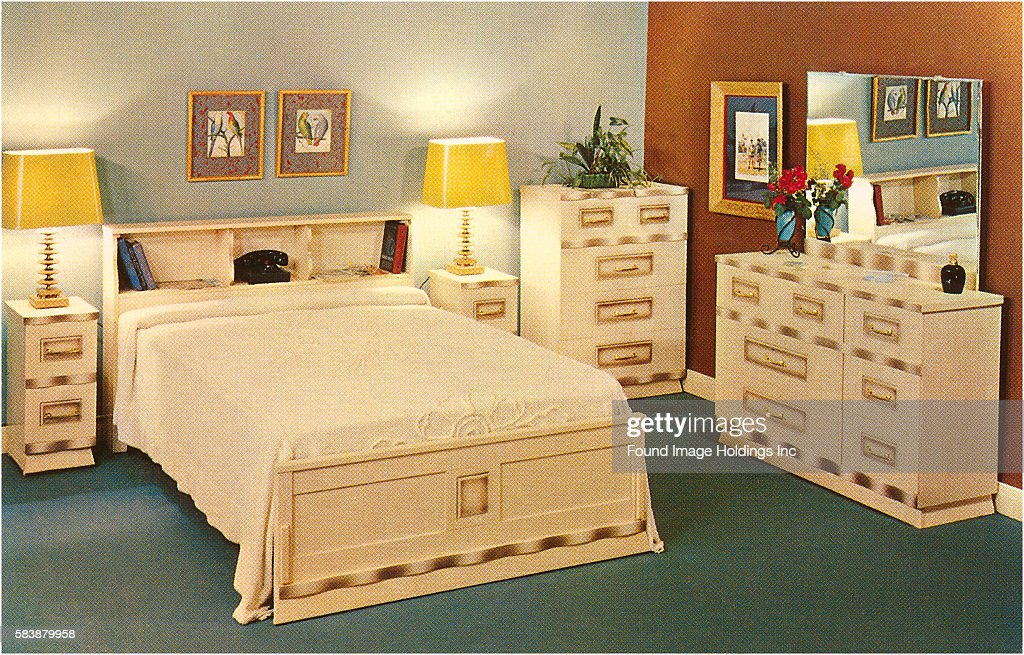 Vintage photograph of bedroom furniture set in the 1960s ...