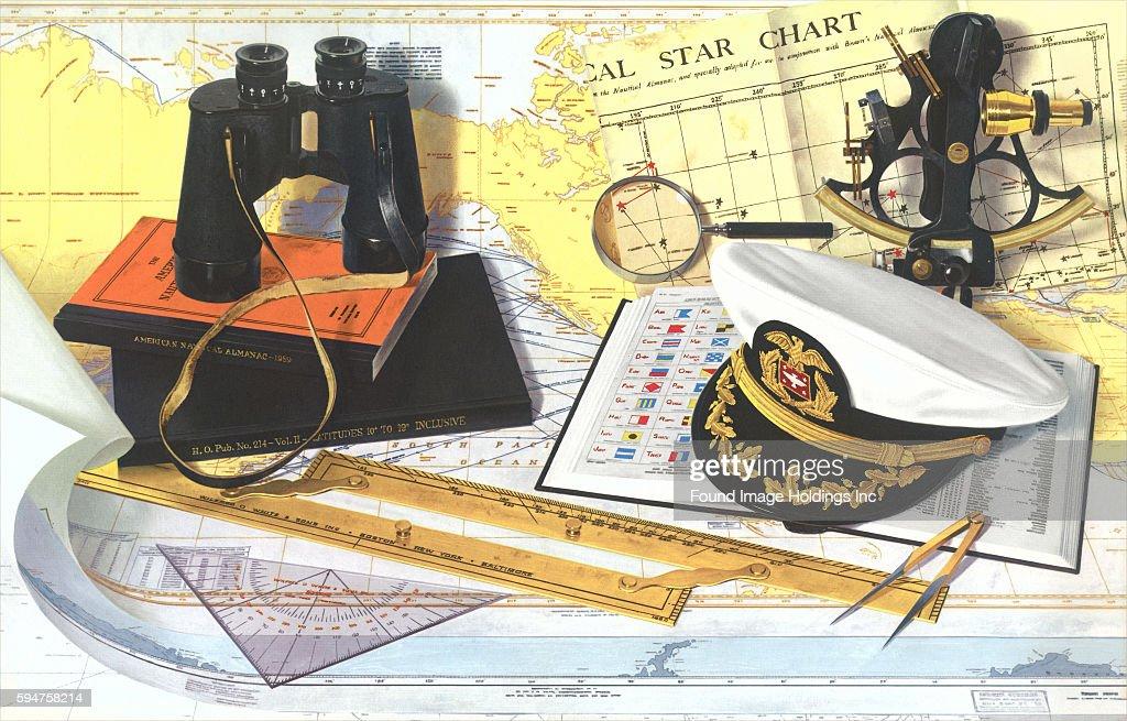 Vintage photograph of celestial navigation instruments including a