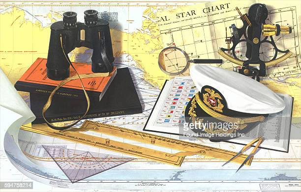 Vintage photograph of celestial navigation instruments including a sextant a nautical almanac parallel rules a compass a map binoculars magnifying...