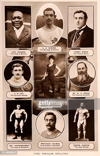 A vintage photographic montage featuring Some Popular Athletes circa 1910 Left to right from the top Jack Johnson the king of boxers Alfred Shrubb...