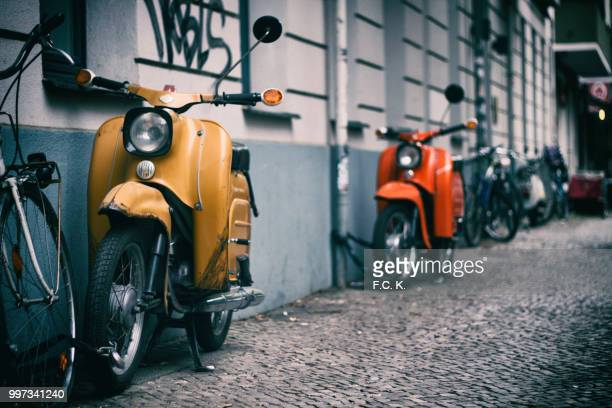 vintage - moped stock photos and pictures