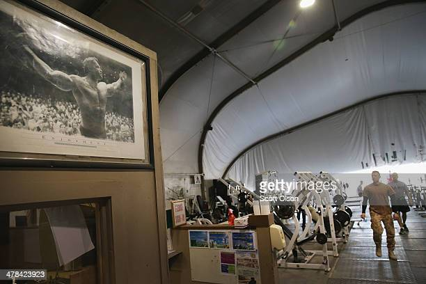 Vintage picture of Arnold Schwarzenegger hangs in the gym at the recreation center on Bagram Airfield on March 13, 2014 near Bagram, Afghanistan....
