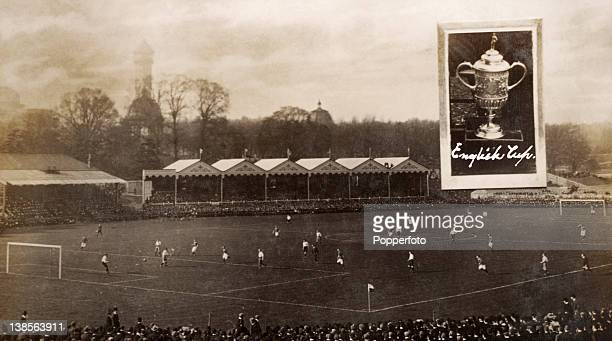 Vintage picture postcard of Crystal Palace football ground in London produced as a souvenir of the 1909 English FA Cup Final between Manchester...